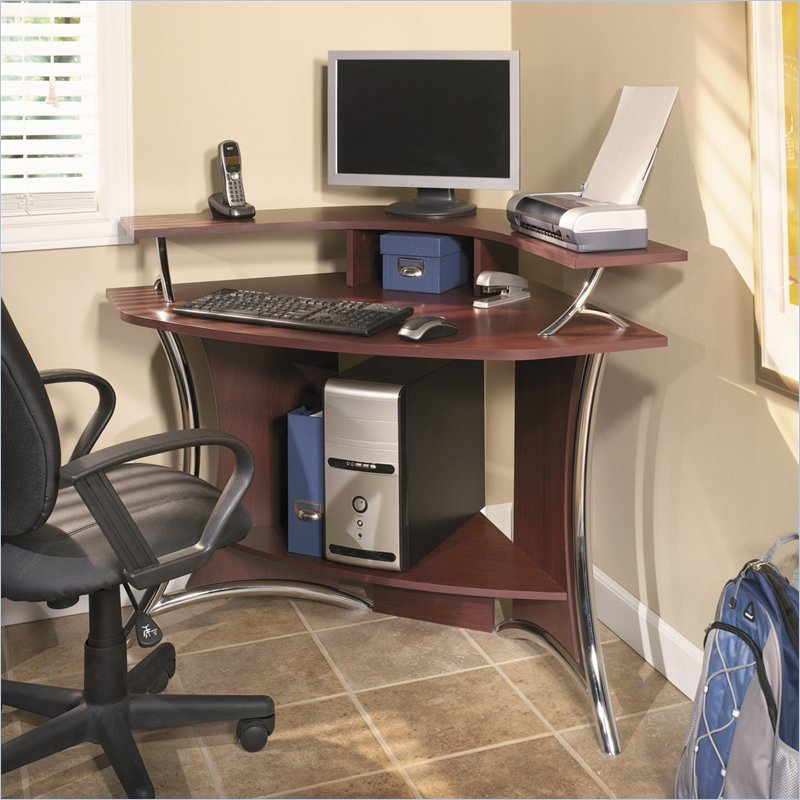 bush tacoma corner wood harvest cherry computer desk ebay. Black Bedroom Furniture Sets. Home Design Ideas