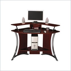 Bush Tacoma Corner Wood Computer Desk in Harvest Cherry