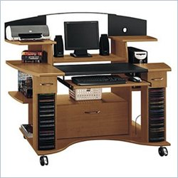 Bush Furniture Jagger Comfort Zone Wood Computer Cart in Lift Cherry