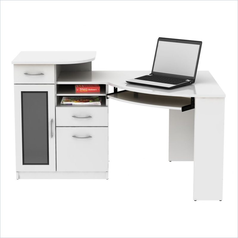 bush vantage corner wood pure white computer desk ebay. Black Bedroom Furniture Sets. Home Design Ideas