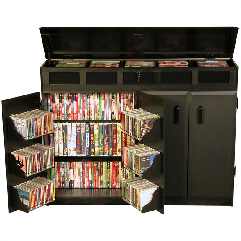 Venture Horizon Top Load CD DVD Media Storage Cabinet - Black and Walnut at Sears.com