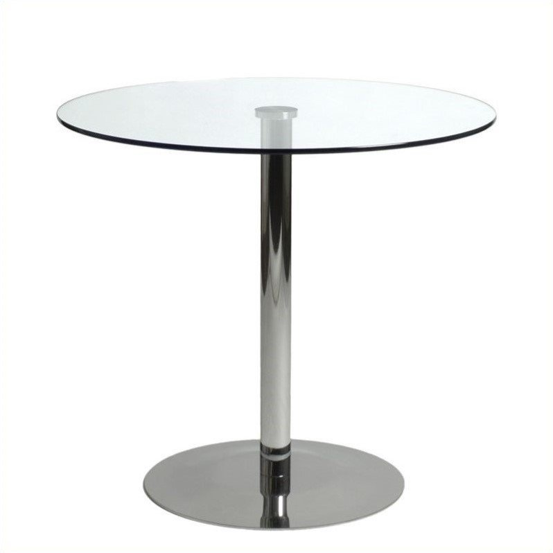 Eurostyle Ava Bistro Table in Clear Glass and Chrome at Sears.com