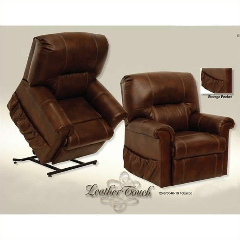 catnapper vintage leather touch power lift recliner chair in tobacco