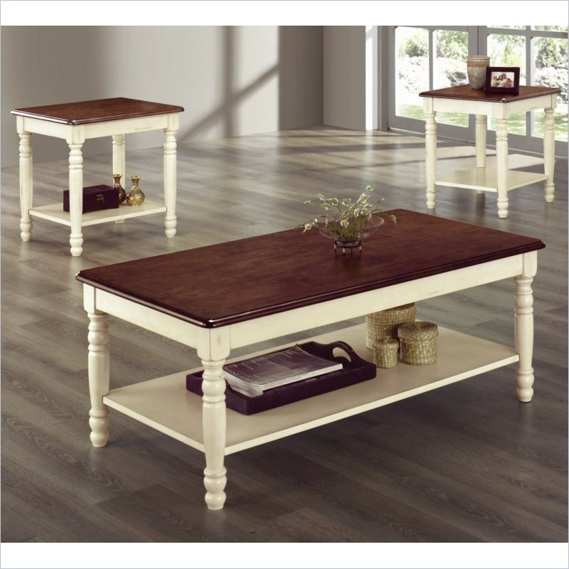 Homelegance Ohana 3 Pc Occasional White Cherry Coffee Table Set Ebay