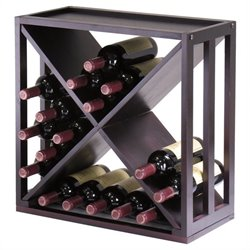 "Winsome Kingston Modular and Stackable ""X"" Wine Cubby in Espresso"