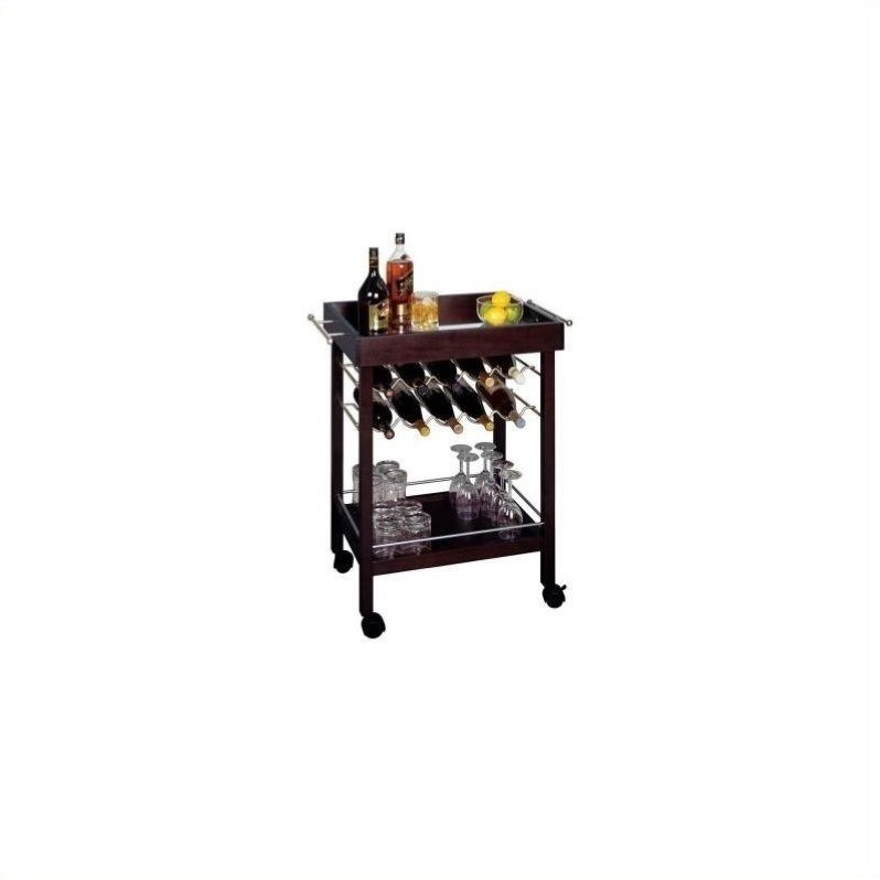 Winsome Ten Bottle Wine Cart with Mirror Top in Espresso