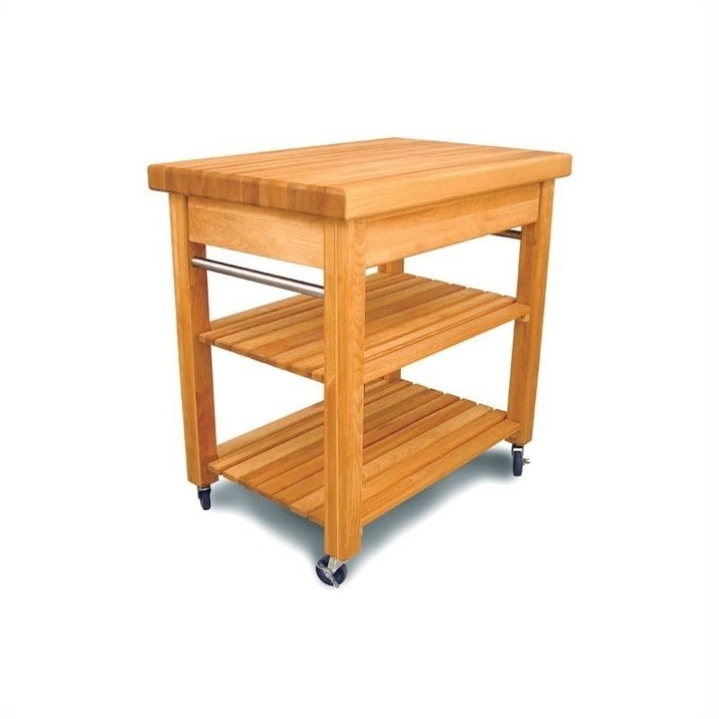 French Country Small Butcher Block Kitchen Cart In Natural