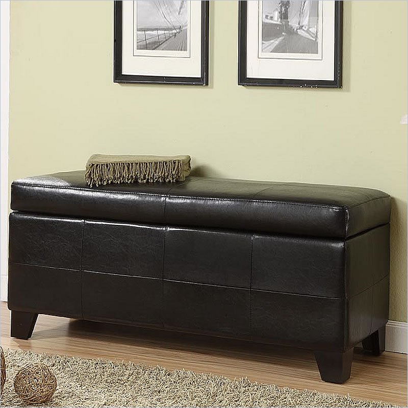 Modus Furniture Modus Upholstered Milano Blanket Storage Bench in Black Leatherette at Sears.com