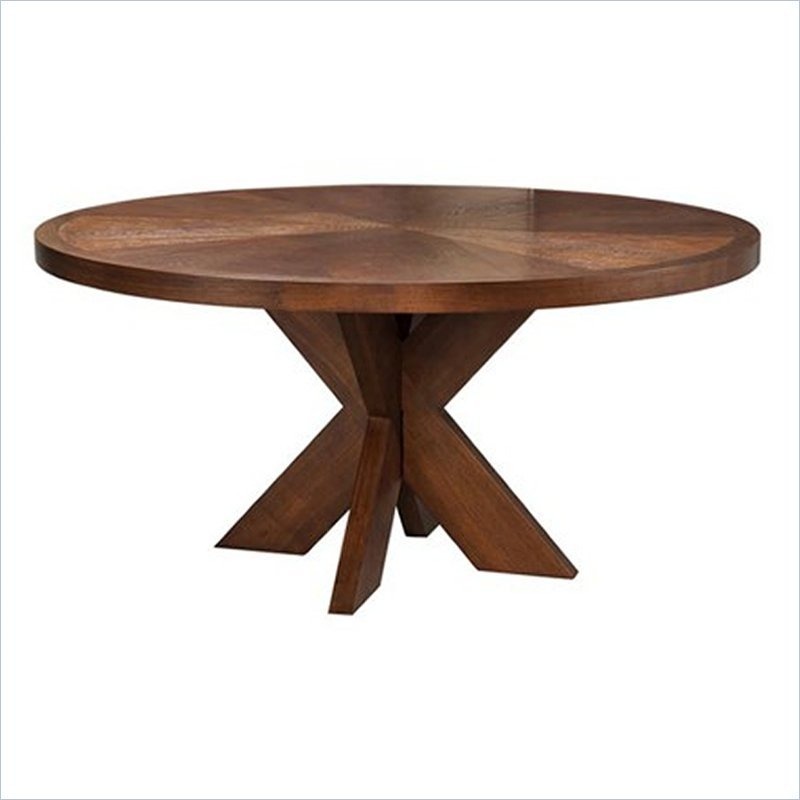About Modus Hudson Round X Base Casual Mocha Finish Dining Table
