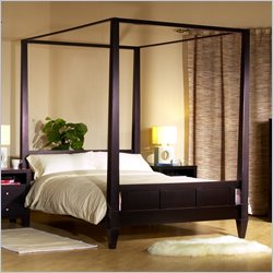 Lifestyle Solutions Wilshire Modern Platform Canopy Bed in Cappuccino Finish