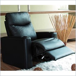 coaster furniture hardwood leather match vinyl recliner in black