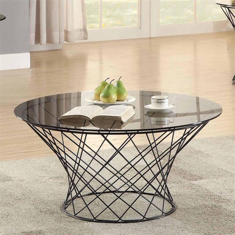 Ascot Round Glass Coffee Table: Coaster Round Glass Top Coffee Table In Black