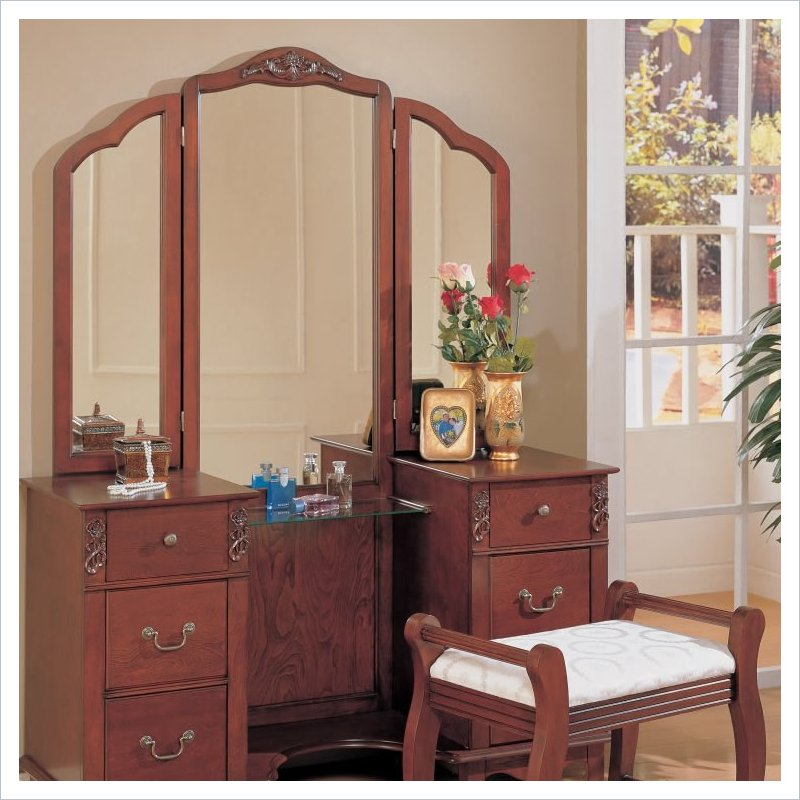 Coaster Traditional Wood Makeup Vanity Table Set with Mirror at Sears.com