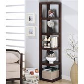 Coaster  Corner Bookcase in Cappuccino