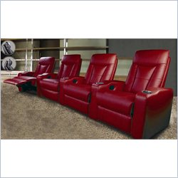 Coaster Pillow Top Four Piece Leather Match Theater Seating Set in Red
