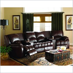 Coaster Five Double Motorized Reclining Theater Seating Set in Brown