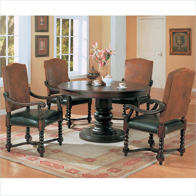"New Chateau Formal Traditional Rustic Cherry Finish Wood: Coaster Riverside 54"" Round Semi-Formal Dark Wood Finish"