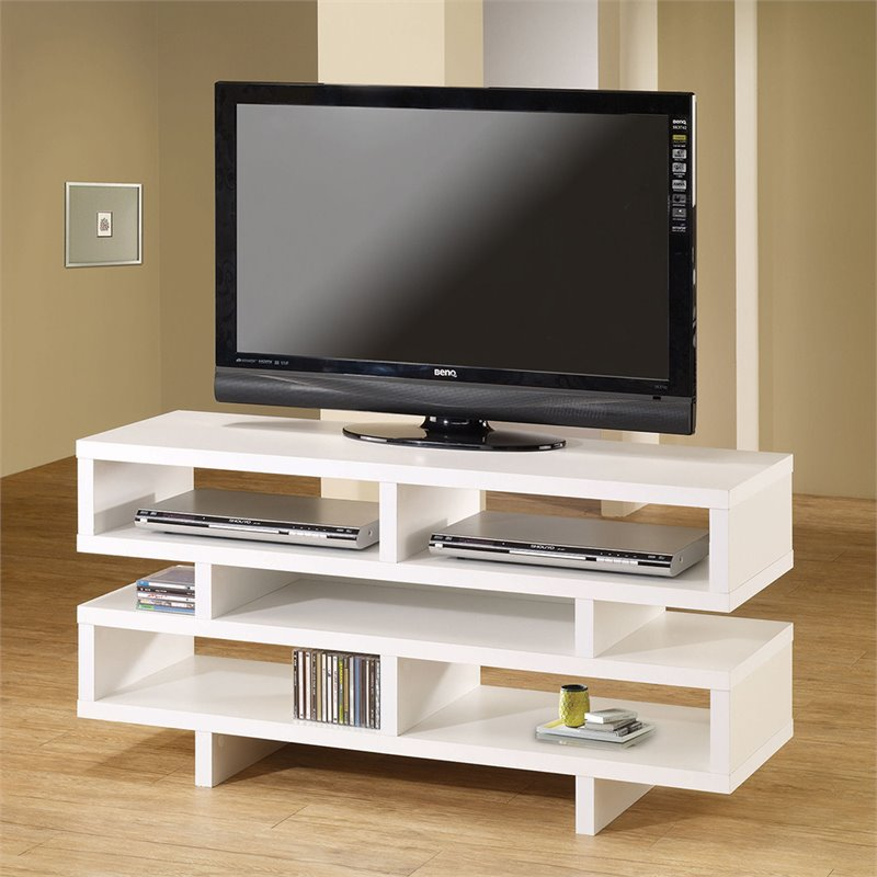 entertainment center wood storage contemporary tv console with open in white ebay. Black Bedroom Furniture Sets. Home Design Ideas