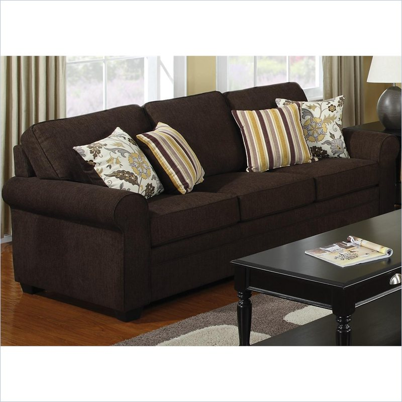 Coaster Rosalie Stationary Sofa with Accent Pillows in Dark Brown [428903]