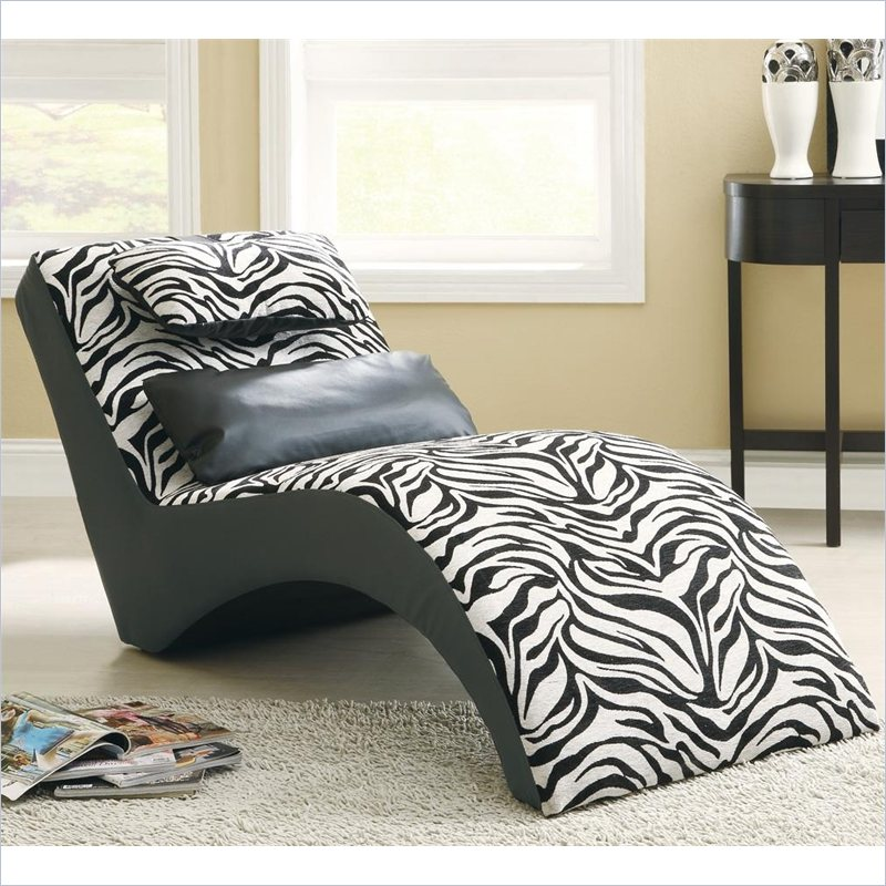 Accent seating modern zebra print furniture chaise 550071 for Animal print chaise