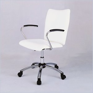  Powell Furniture Teen Trends Chrome Plated Desk Chair with White Vinyl 