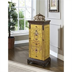 Powell Furniture Masterpiece Jewelry Armoire in Distressed Antique Parchment Finish