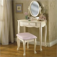 Powell Furniture Off-White Girl's Wood Makeup Vanity Table with Mirror and Bench Set at Sears.com