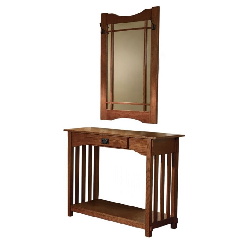 Powell furniture mission oak wood sofa table and mirror for Foyer console table and mirror set