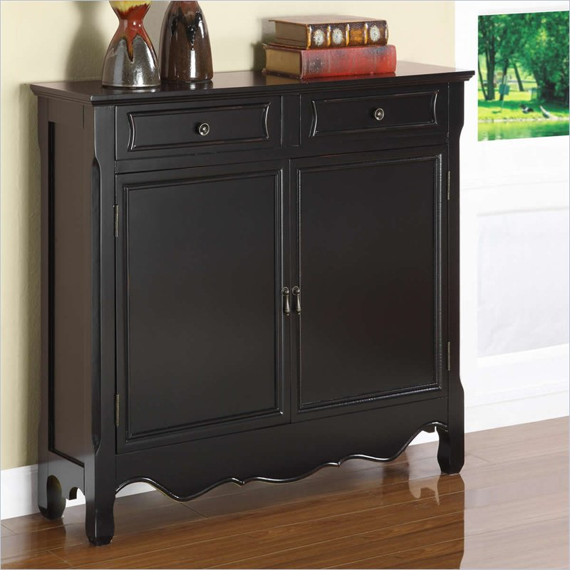 Powell furniture black 2 dr storage cabinet console table ebay - Sofa table with cabinets ...