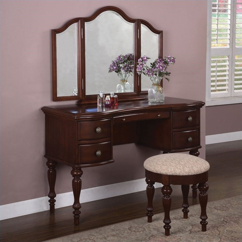 Powell Furniture Marquis Cherry Wood Makeup Vanity Table with Mirror and Bench at Sears.com