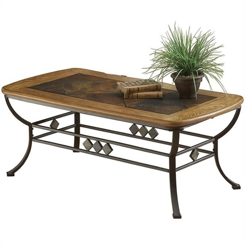 Lakeview rectangle slate top coffee table in brown and medium oak 4264otc Slate top coffee tables