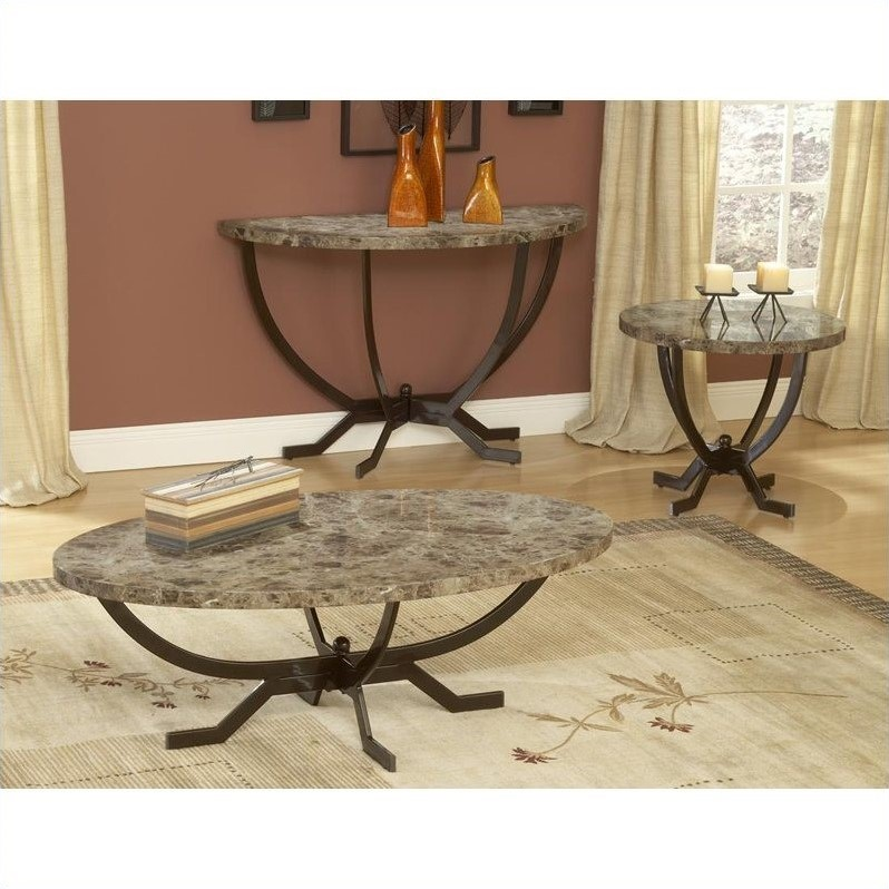 About Hillsdale Monaco Faux Marble 3 PC Espresso Coffee Table Set