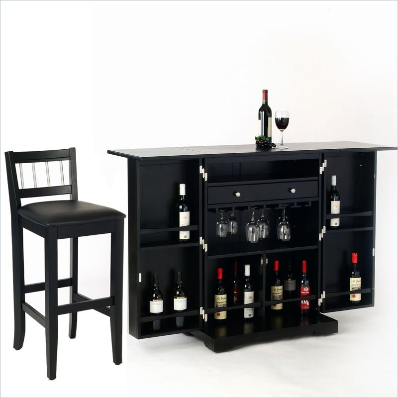 Styles furniture steamer black folding set home bar ebay Home pub bar furniture