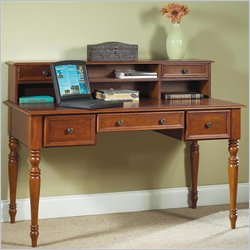Home Styles Furniture Homestead Solid Wood Executive Writing Desk with Hutch in Distressed Warm Oak