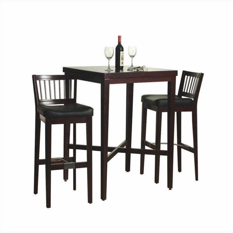 Home styles furniture 3 pc solid wood table bar stools cherry pub set ebay Home pub bar furniture