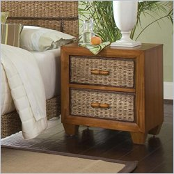 Home Styles Cabana Banana 2 Drawer Nightstand in Honey Finish