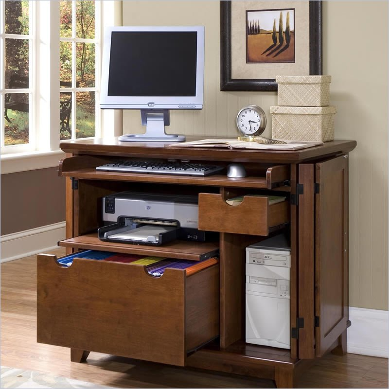 Home styles arts crafts compact cabinet cottage oak computer desk ebay - Hutch style computer desk ...