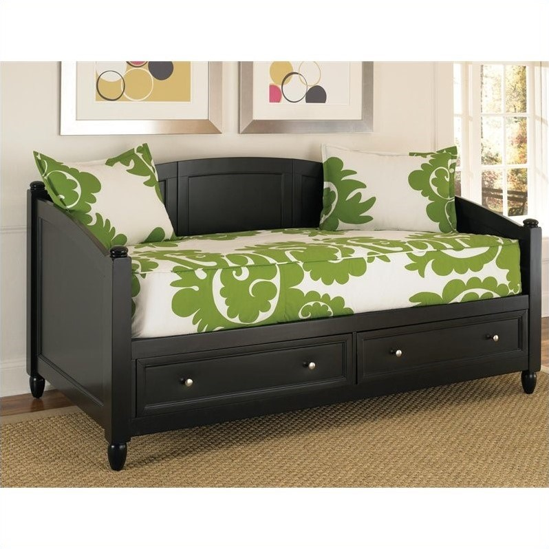 Bedford storage wood daybed in black 5531 85 Daybeds with storage