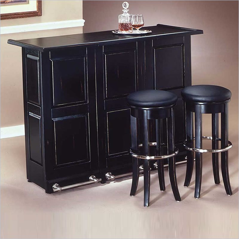 Styles furniture black folding cabinet home bar ebay Home pub bar furniture