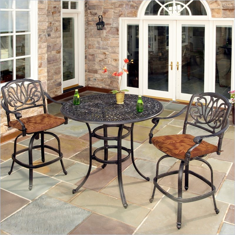 Home Styles Floral Blossom 3 Piece Bistro Set in Charcoal at Sears.com