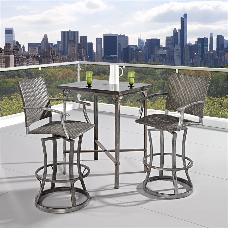 home styles urban outdoor 3 pieces high dining set in aged metal