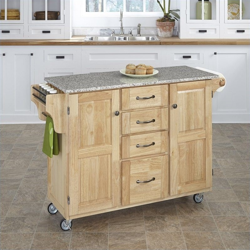 Home Styles Furniture Natural Wood Island Cart with Salt and Pepper Granite Top at Sears.com