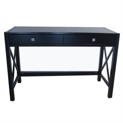Wood Writing Desk in Distressed Antique Black
