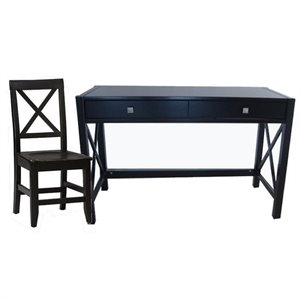Wood Writing Desk w/ Chair Set in Distressed Antique Black