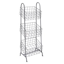 Linon 3 Metal Basket Stand in Steel Gray