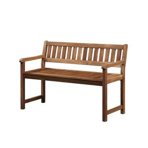 Linon Catalan Patio Bench in Teak