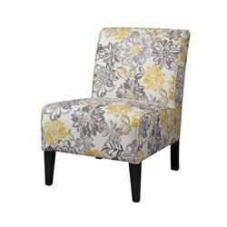 Linon Lily Bridey Accent Chair in Yellow and Gray