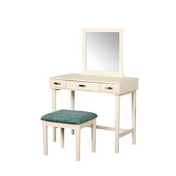 Linon Garbo 3 Piece Bedroom Vanity Set in Cream