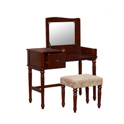 Linon Wyndham 3 Piece Bedroom Vanity Set in Rich Walnut