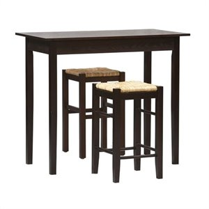 Linon Tavern 3 PC Space Saver Counter Height Dining Set in Espresso